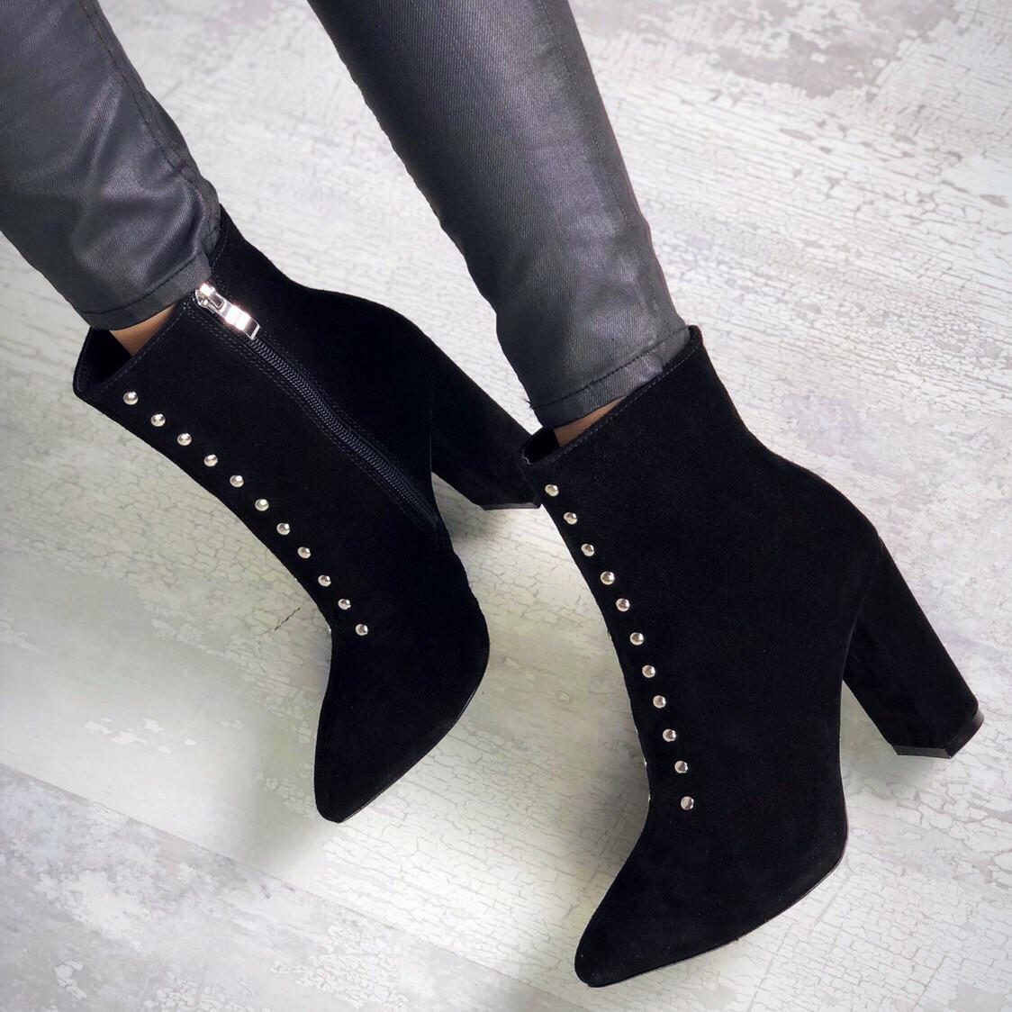 Шикарные замшевые ботинки на каблуке 36-40 р чёрный