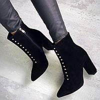 Шикарные замшевые ботинки на каблуке 36-40 р чёрный, фото 1