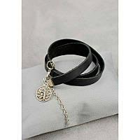 Женский кожаный браслет - лента черный