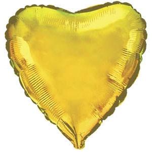 Фольгированный шар Ультра Сердце 9см х 23см Золотой