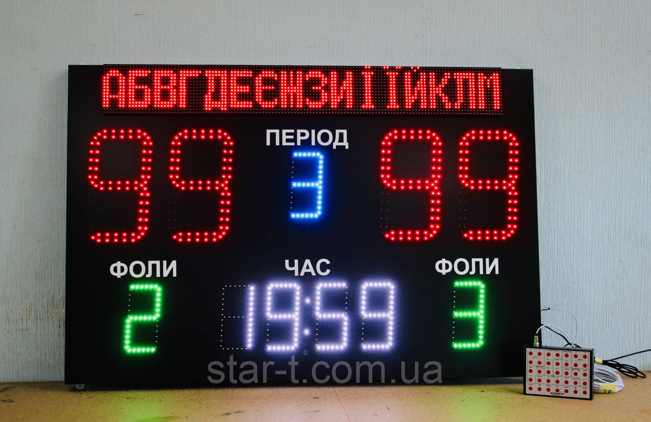 Универсальное спортивное табло 1500х1000мм.