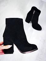 Замшевые ботинки на каблуке 36-40 р чёрный, фото 1