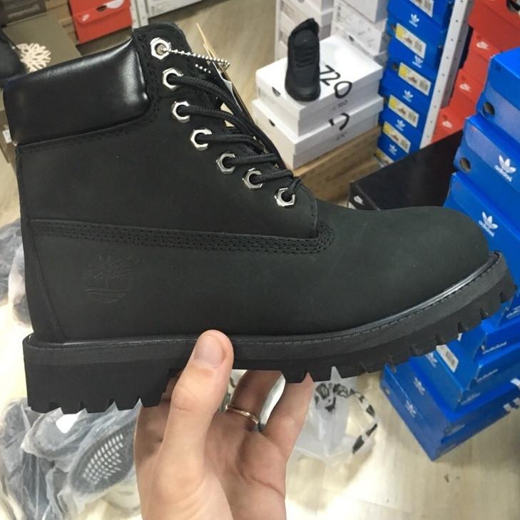 Зимние женские ботинки Timberland 6 inch black без меха. Фото в живую (Реплика ААА+)