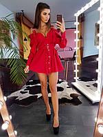 Красное платье-сарафан с пряжками