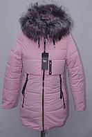Хит!!!  Модная подростковая зимняя куртка на замке с меховым капюшоном 142р-164р, фото 1