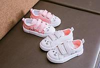 Дитячі кеди на липучки / модные кроссовки для девочек; милые детские статуэтки котов; спортивная обувь