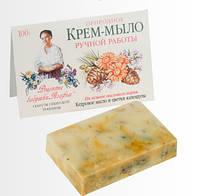 """Природное крем-мыло ручной работы """"Кедровое масло и цветки календулы"""". Рецепты бабушки Агафьи,100 мл."""