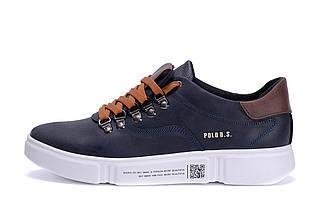 Мужские кожаные кроссовки в стиле Polo Blue Trend темно-синие, фото 3