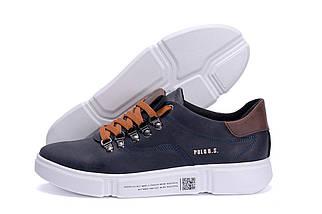 Мужские кожаные кроссовки в стиле Polo Blue Trend темно-синие, фото 2