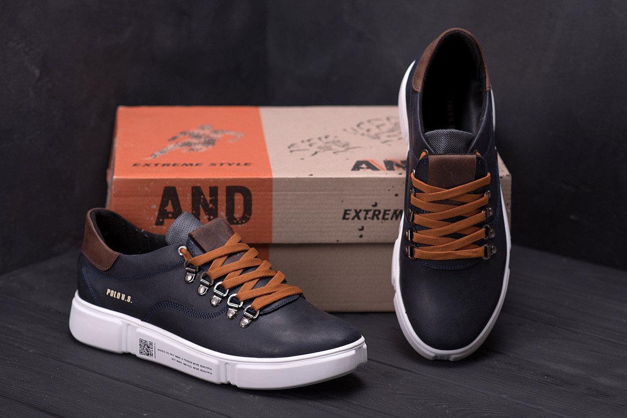 Мужские кожаные кроссовки в стиле Polo Blue Trend темно-синие