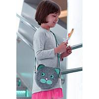 Фетровая детская сумка Miss Kitty с кожаными бирюзовыми вставками