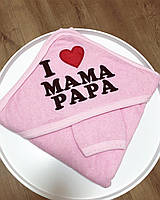 Детское полотенце-уголок I love mom&dad -Rose размер 80*80  фабричная Турция