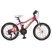 """Велосипед 20 д. G20CARE A20.1 (1шт)алюм.рама 12"""",SHIMANO 18SP,алюм.VB,розовый"""