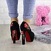 Женские туфли с вышивкой на каблуке Milla черные 1073, фото 2