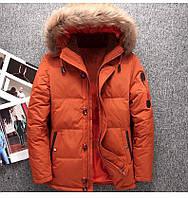 Мужская зимняя куртка пуховик в наличии! (YD7_02), оранжевая. Размер 44-50