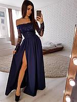Синее элегантное платье макси с кружевным верхом