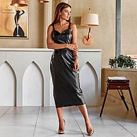 Женское облегающее платье из экокожи черное