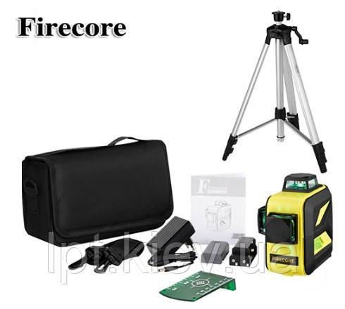 Лазерный уровень/лазерный нивелир 3D Firecore F93T-XG БИРЮЗОВЫЙ ЛУЧ + ШТАТИВ 1,5 МЕТРА