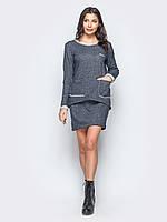 Женское трикотажное платье футляр трансформер, костюм юбка и свитшот M 46-48 серый UAJJ048_3