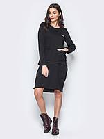 Женское трикотажное платье футляр трансформер, костюм юбка и свитшот M 46-48 серый UAJJ048_3 черный