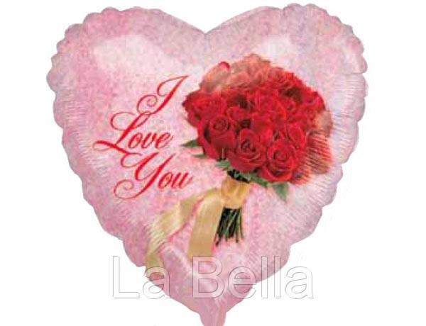 Воздушные шар фольгированный Сердечко I love you с букетом