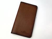 Кожаный мужской/женский кошелек ручной работы коричневого цвета TsarArt с ручным швом и вощеной кожи