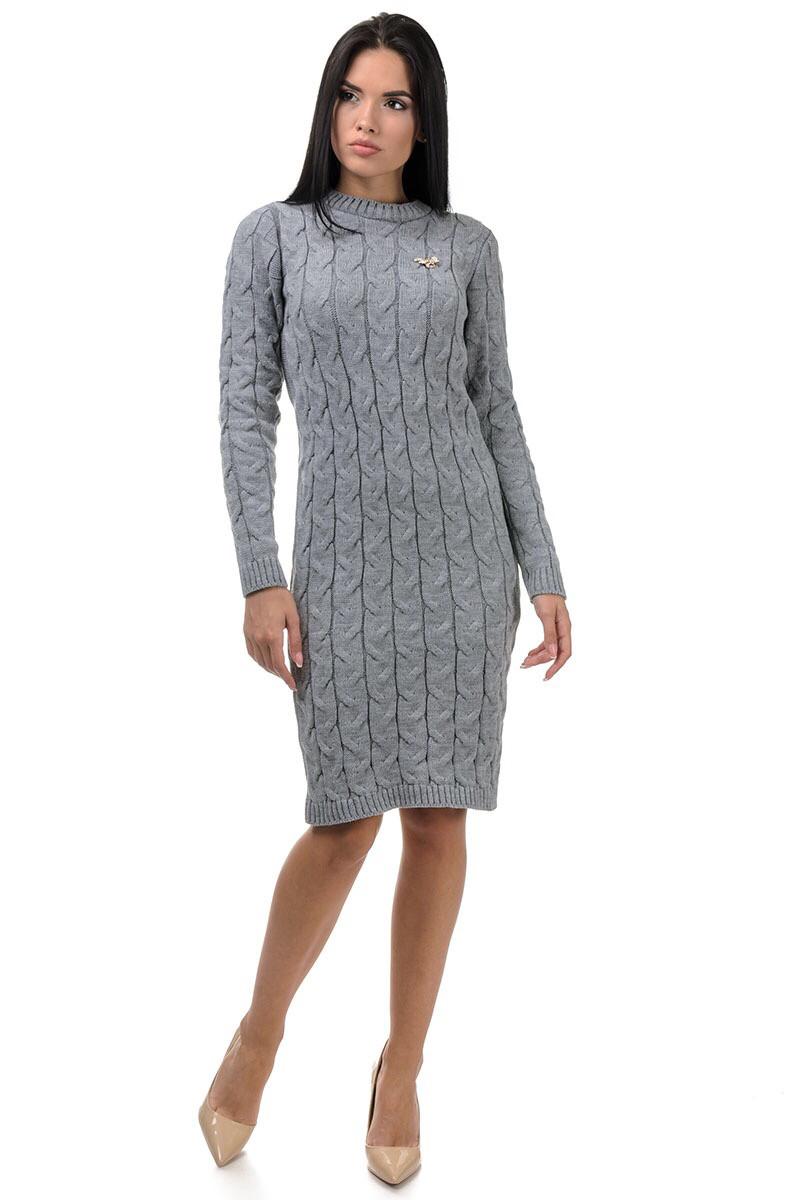Зимнее платье вязаное до колена 42-46 (в расцветках)