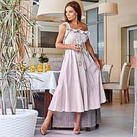 Женское платье на бретелях с поясом светло-серое