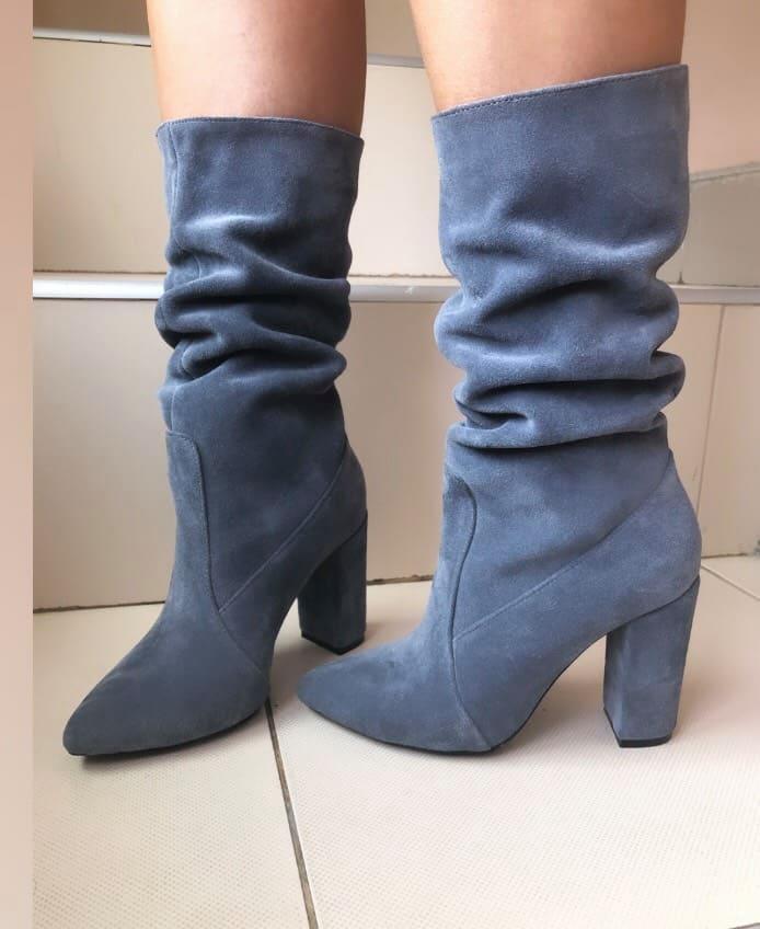 Элегантные женские замшевые сапоги на каблуке 36-40 р