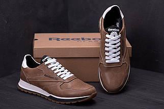 Мужские кожаные кроссовки в стиле Reebok Classic coffe светло-коричневые
