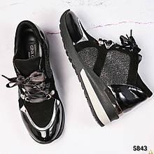Женские замшевые кроссовки VIP с вставками (черный)