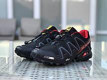Кроссовки мужские Salomon,кроссовки для бега,черные с красным, фото 2