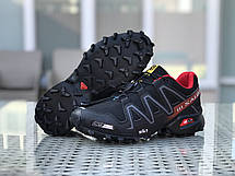 Кроссовки мужские Salomon,кроссовки для бега,черные с красным, фото 3
