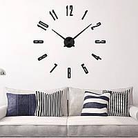 3D Большие комнатные настенные часы 4234 Black