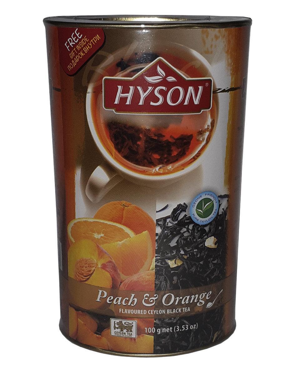 Чай чорний Hyson Peach & Orange зі смаком апельсина і персика 100 г у жерстяній банці
