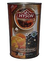 Чай чёрный Hyson Peach & Orange со вкусом апельсина и персика 100 г в жестяной банке