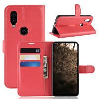 Чехол Luxury для Motorola Moto One Vision книжка красный