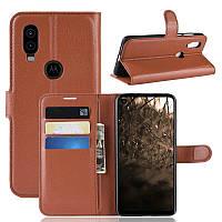 Чехол Luxury для Motorola Moto One Vision книжка коричневый