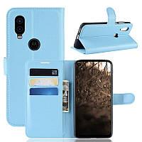 Чехол Luxury для Motorola Moto One Vision книжка голубой