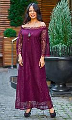 Платье впол  БАТАЛ гипюр в расцветках 48410