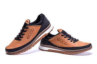 Мужские кожаные кроссовки в стиле Ecco Classic brown светло-коричневые, фото 3