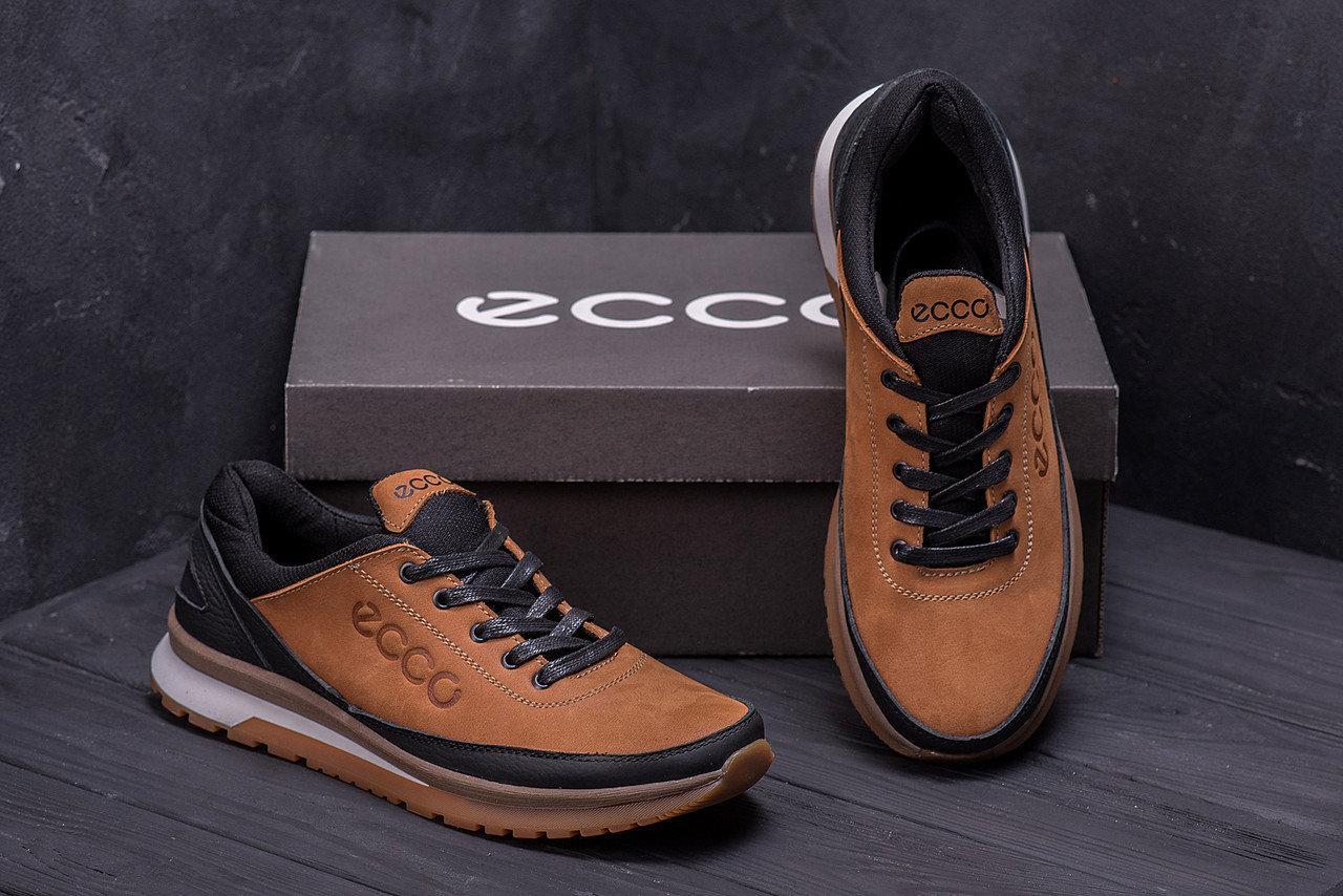 Мужские кожаные кроссовки в стиле Ecco Classic brown светло-коричневые