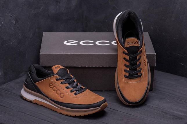 Мужские кожаные кроссовки в стиле Ecco Classic brown светло-коричневые, фото 2