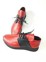 Туфли Кроссовки Женские CRLN by Carolini код: 340-521 Натуральная кожа Красные