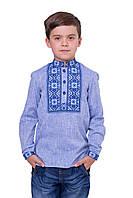 Вышиванка для мальчика Данислав  голубой лен длинный рукав 116,122,134,140,146  рост