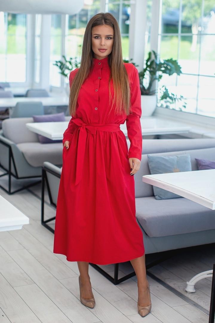 """Приталенное платье-рубашка """"Lori"""" с поясом и длинным рукавом (2 цвета)"""