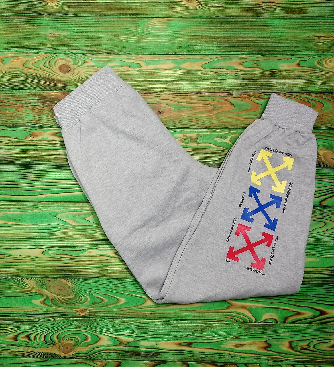 Штаны мужские - спортивные в стиле OFF-White temperature (разноцветные кресты) серый