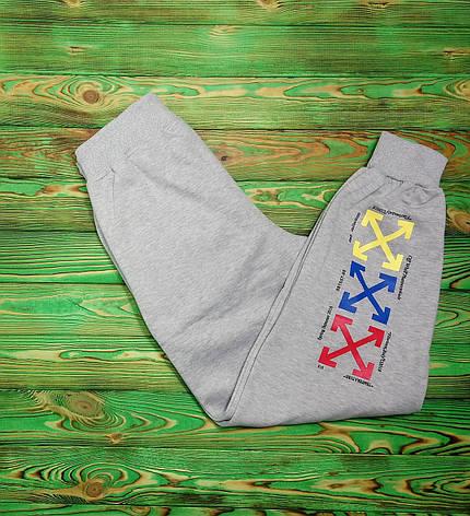 Штаны мужские - спортивные в стиле OFF-White temperature (разноцветные кресты) серый, фото 2