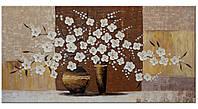 Картина на холсте YS-Art акриловыми красками 120х60 см Ваза с цветами IV HRR185, КОД: 1081570