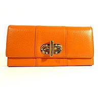 Кошелек кожаный женский оранжевый, монетница внутри